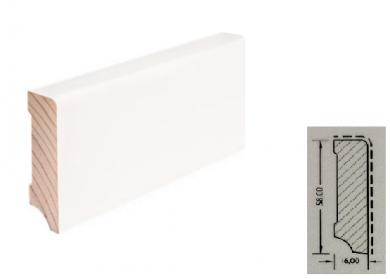 TF-Wohnen Massivholzleiste, Modell Cube 58mm, verkehrsweiß lackiert (RAL 9016)