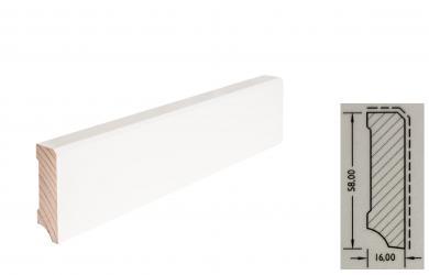 TF-Wohnen Massivholzleiste, Modell Fase 58mm, reinweiß lackiert (RAL 9010)