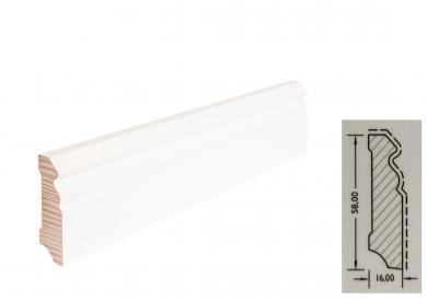 TF-Wohnen Massivholzleiste, Modell Hamburger Profil 58mm, verkehrsweiß lackiert (RAL 9016)