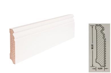 TF-Wohnen Massivholzleiste, Modell Hamburger Profil 80mm, verkehrsweiß lackiert (RAL 9016)